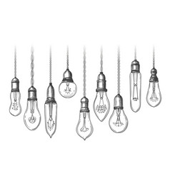 Vintage lightbulbs sketch vector