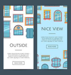 window flat icons web banners vector image