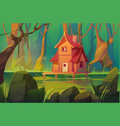 Wooden mystic stilt house above swamp in forest vector