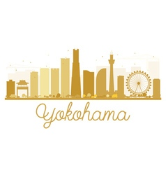 Yokohama City skyline golden silhouette vector image