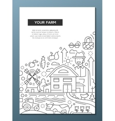 Your Farm - line design brochure poster template vector