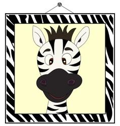Zebra portrait in frame vector