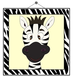 Zebra portrait in zebra frame vector