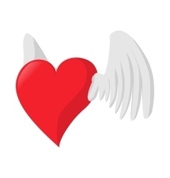Heart with wings love cartoon icon vector image vector image