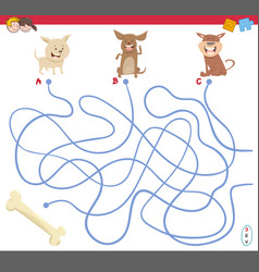 maze game with puppy characters vector image vector image