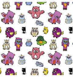 Seamless pattern set of owl vector image