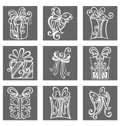 Set of Ornamental Holiday Gift vector image