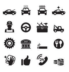 car service car care icons set vector image vector image