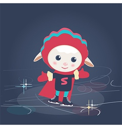 Cartoon sheep in Super Hero outfit ice skating vector image vector image