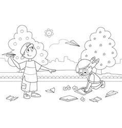 Kids playing with paper airplanes vector image