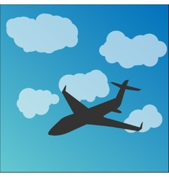 Plane silhouette in the sky vector image