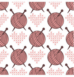 yarn clew ball seamless pattern sewing wrapping vector image