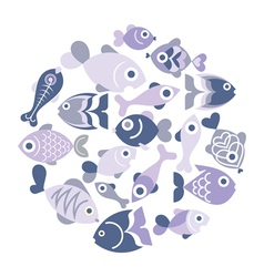 Blue Fishes vector image
