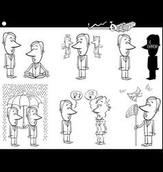 business cartoons set vector image vector image