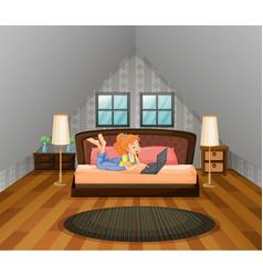 girl working on computer in bedroom vector image vector image