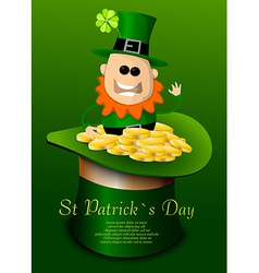 St Patricks Day hat with leprechaun vector image vector image