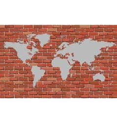 World map on a brick wall vector image vector image