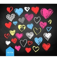 Chalk drawn Valentine hearts vector image
