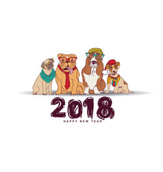 doodles happy new year card 2018 dogs isolate vector image vector image