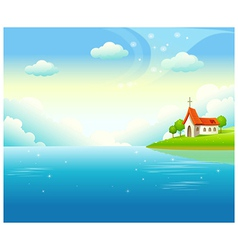 Idyllic church landscape background vector image
