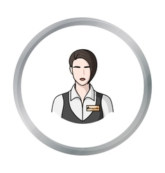 Restaurant waitress with a badge icon in cartoon vector image