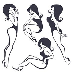 stylezed pinup girls vector image vector image