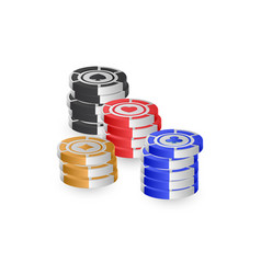 3d poker chips isolated on white background for vector image