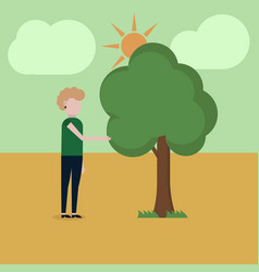a girl is standing near a tree vector image