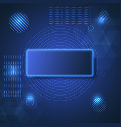 Abstract blue neon square background vector