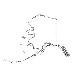 Alaska ak state border usa map outline vector