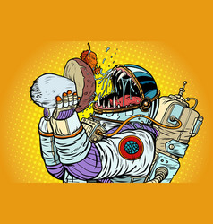 astronaut monster eats mushroom vector image