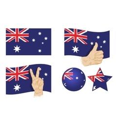 australia flag set icons vector image