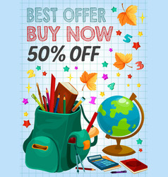 back to school supplies sale banner retail design vector image