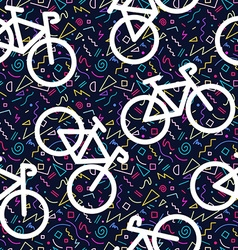 Bike retro seamless pattern outline 80s color vector image