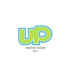 Blue green alphabet letter vp v p logo icon design vector