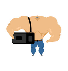 bodybuilder with sports bag goes to training vector image
