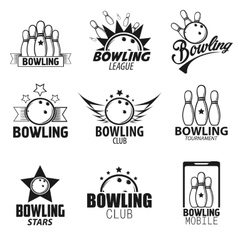 Bowling labels and icons set vector