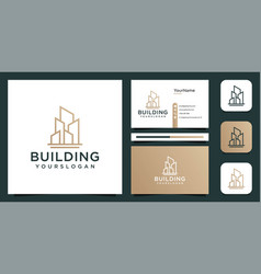 Building architecture logo and business card vector