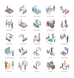 Business coaching icons pack vector