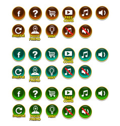 buttons set with icons gui vector image