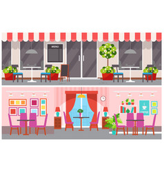Cafe interior and exterior tables and chairs vector