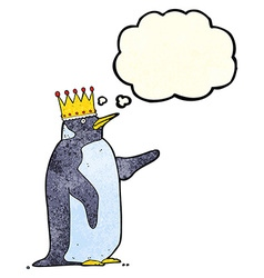 Cartoon penguin wearing crown with thought bubble vector