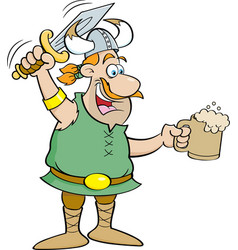 cartoon viking holding a sword and a mug vector image