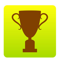 champions cup sign brown icon at green vector image
