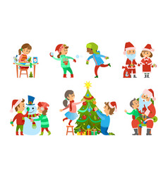 christmas holidays children on vacations set vector image