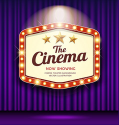cinema theater hexagon sign purple curtain vector image