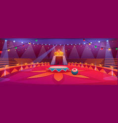 Circus arena classic round stage under tent dome vector
