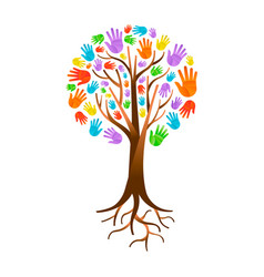 Color hand tree for diverse community help vector