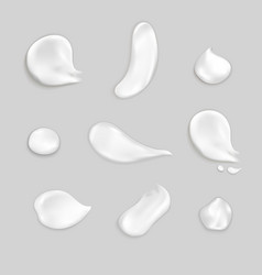 Cosmetic cream smears realistic icon set vector