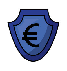 Currency such as shield euro symbol foreign vector